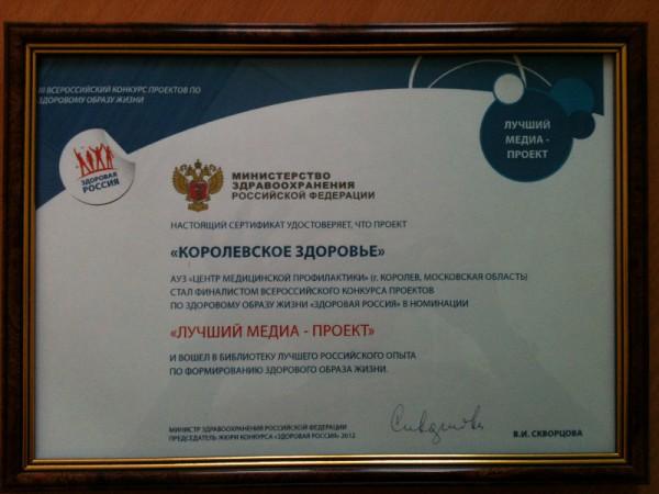 """сертификат """"Лучший медиа-проект"""""""